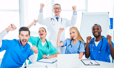 doctor and nurses cheering