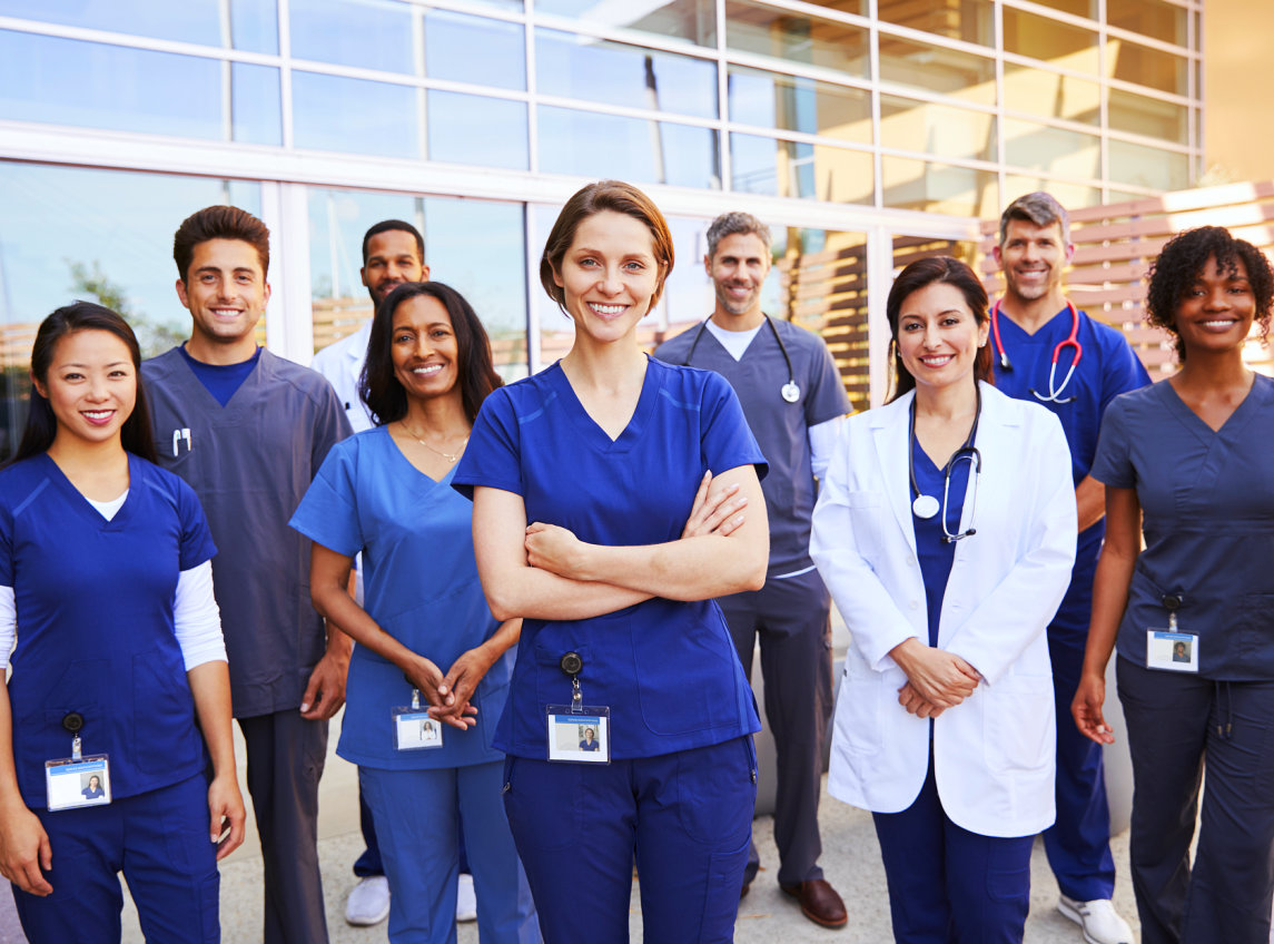 group of healthcare staff smiling